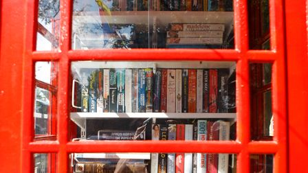 Inside the newIckleford Telephone Box Book Exchange, which stands off the green