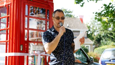 Ickleford Parish CouncillorRay Blake officially openedthe Ickleford Telephone Box Book Exchange on Saturday