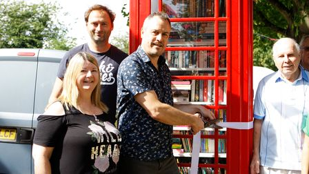 Ickleford Parish CouncillorRay Blake officially openedthe ckleford Telephone Box Book Exchange on Saturday