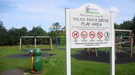 The Wilkes Farm Drive Play Area where some of the equipment has been spoiled by sealant. Picture: DE