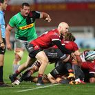 Gloucester's Joe Simpson (centre) passes the ball during the Gallagher Premiership match at Kingshol
