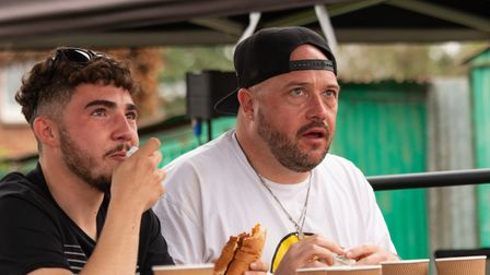 Many people took part in the foot long hot dog competition.