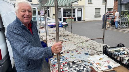 Billy Hartland, haberdasher, is among the regular traders at theFriday market in Aylsham's Market Place.