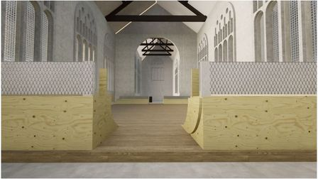 How the indoor skatepark could look at the disused St Peter Parmentergate Church