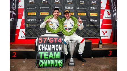 Burns (right) and Burton (left) crowned GT4 drivers' champions.