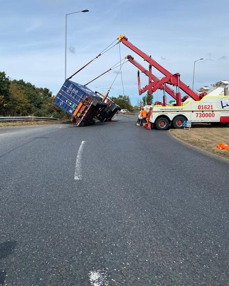 The lorry was recovered on Monday afternoon.