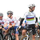 Oli Stockwell (left) next to world champion Julian Alaphilippe and eventual winner Wout van Aert at the Tour of Britain.