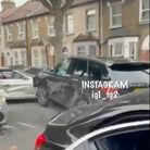 A Range Rover is filmed drivinginto another car in Benson Avenue, East Ham on Sunday (September 12)