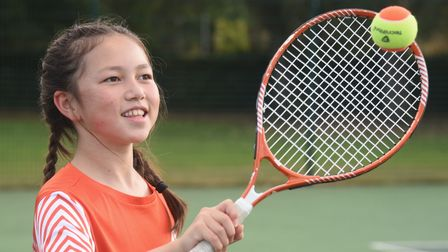 Lucy, 10, enjoying the tennis coaching at the Norwich Parks Tennis Club at Eaton Park. Picture: DENI