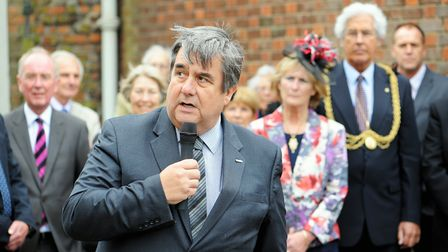 Tony Wright speaking at the unveiling of a blue plaque to mark the 30th anniversary of Crimestoppers