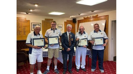 Yatton Bowls Club Men's Two Wood winners and runners-up.