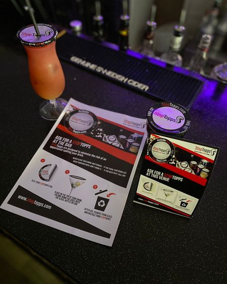 The StopTopps drink protectors which are being used at Cans 'N' Cocktails bar at Norwich's Prince of Wales Road.