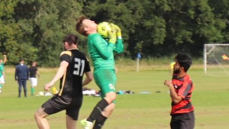 Action from St Albans Lions against Royston Res in the Herts Ad Sunday League.
