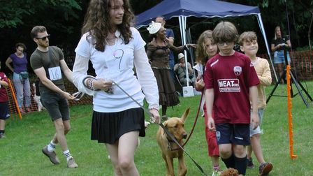 Prizes were given for the best puppy - seen here in a parade at the 2021 Dog Olympix