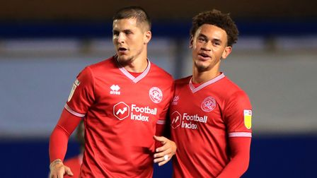 File photo dated 18-09-2020 of Queens Park Rangers' Lyndon Dykes and Luke Amos. Issue date: Thursday