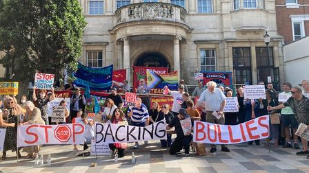 Union activists protested outside Redbridge Town Hall on Saturday, September 11
