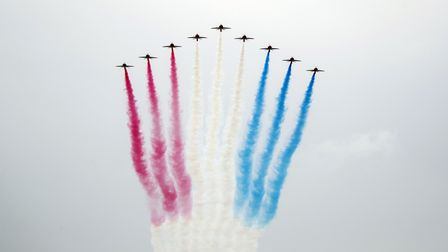 File photo dated 27/6/2020 of the Red Arrows perform a flypast over Scarborough Castle in North York