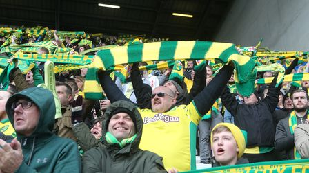 The traveling Norwich fans before the Sky Bet Championship match at the DW Stadium, Wigan Picture b