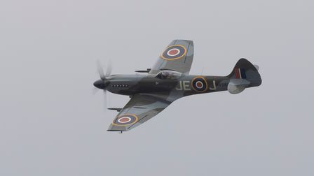 Supermarine Spitfire Mk XIV displaying at IWM Duxford at theFlying Days: The Fighters event.