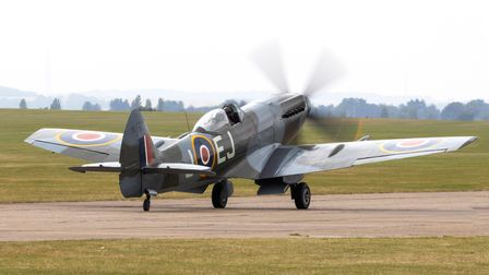 Supermarine Spitfire Mk XIV taxiing out to start the display at IWM Duxford at theFlying Days: The Fighters event.