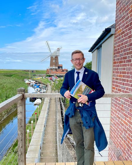North Norfolk MP Duncan Baker at Cley Windmill on his 2021 summer tour.