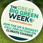 """Two images - Main image: A lamb on grass; Inset: """"The Great Big Green Week"""""""