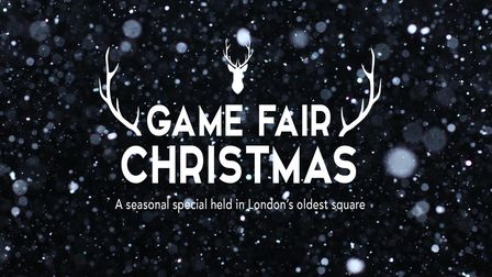"""Snowstorm texture. Bokeh lights and Falling snow on a black background. """"The Game Fair Christmas"""" logo in white on top."""