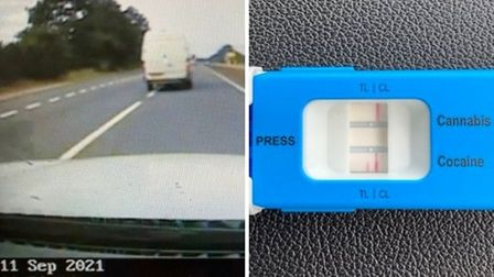 """Van driver was accused of""""weaving between lanes""""on the A14 west of Huntingdonarrested on suspicion of drug driving."""