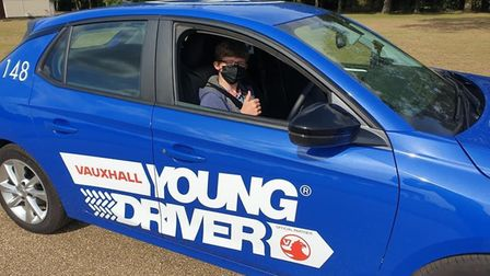 Harvey Smith behind the wheel at a Young Driver lesson.