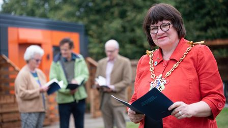 Mayor of Ipswich is Councillor Elizabeth Hughes handed out books to new residents in Whitton's micro