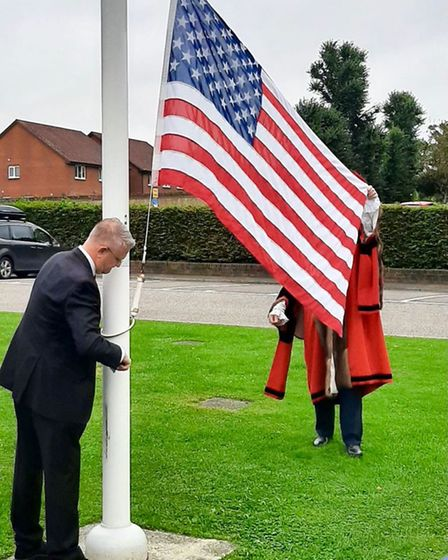 The American flag was hoisted outside Havering Town Hall