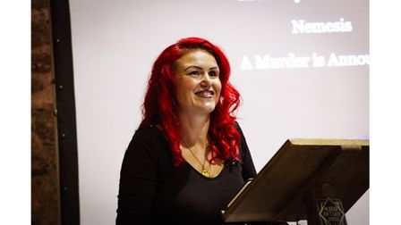 Author giving talk