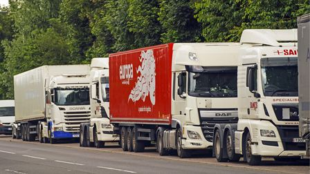 HGV lorries in a lay-by in Colnbrook, Berkshire, for their rest period. The Government has announced