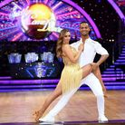 Catherine Tyldesley and Johannes Radebe show off Vicky's costumes ahead of the Strictly Come Dancing Live Tour in 2020