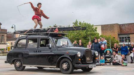 Pirates of the Carabina circus taxi at Orchard Theatre's Whirligig Festival.