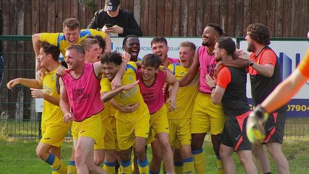 Harpenden Town celebrate their 2-0 win over Leighton Town at Bell Close.