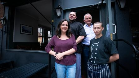 The team at The Alliance pub Mill Lane NW6. From left bar staff Helene Clement, head chef Sebastian