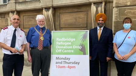 Mayor of Redbridge Cllr Roy Emmett and council leader Cllr Jas Athwal with volunteers from Salvation Army Ilford