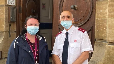 Nadine Puddle, volunteer co-ordinator for the Ilford Salvation Army, withMajor Phil Howe