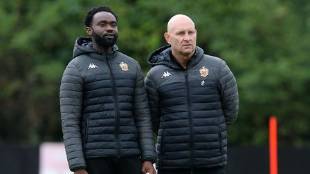 Hornchurch manager Mark Stimson (R) during Hornchurch vs Potters Bar Town, Pitching In Isthmian Leag