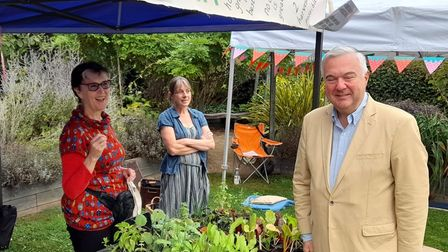 MP Sir Oliver Heald visiting the 'What If? tent at Letchworth Green Festival