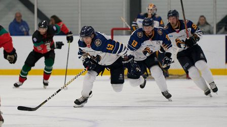 Everyone Active Raiders in action against Basingstoke Bison at the Sapphire Ice and Leisure Centre