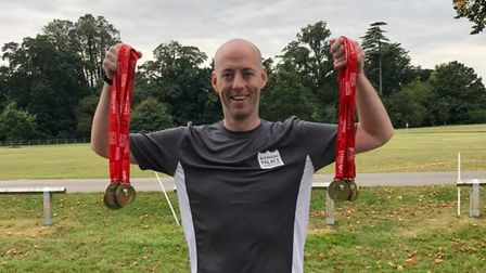 Kieran Feetham finished nine triathlons over two days in aid ofEast and North Hertfordshire Hospitals' Charity