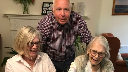 Birthday girl Eve Matthews with daughter Susan Thomson and son-in-law Peter Thomson