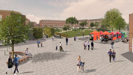 A visualisation of how the new Stonehills square will look once work is complete