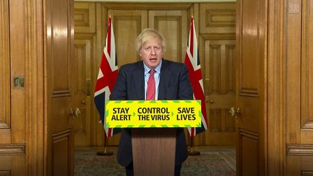 Screen grab of Prime Minister Boris Johnson during a media briefing in Downing Street. Photograph: P