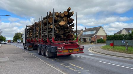 An HGV going along the Holt Road in Horsford
