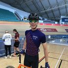 Will Gilbank - a 15-year-old cyclist wearing competition gear in a velodrome.