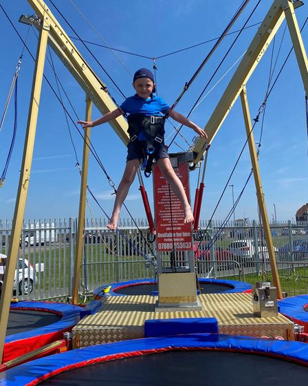 Archie Reynolds, 5, enjoys the trampoline at Pops Meadow play area in Gorleston. Picture: DANIEL HIC