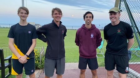 The promoted Men's A team . From left : Jed Ionov Flint, Greg Shipp ( Captain ), Guillermo Rodriquez and Dave Watkins